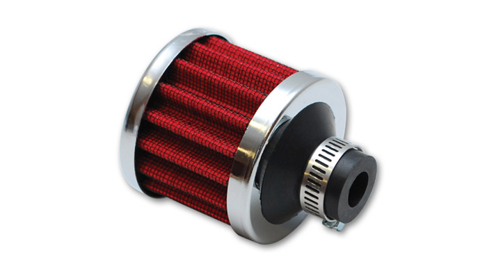 """Crankcase Breather Filter w/ Chrome Cap - 3/8"""" (9mm) Inlet"""